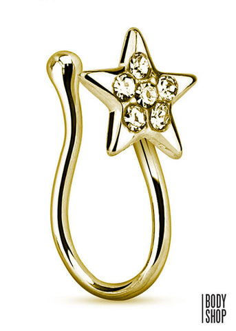 Star with Gems Gold IP Non Piercing Nose Clip