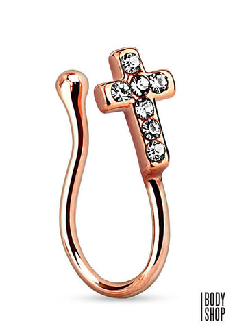 Cross with Clear Gems Gold IP Non Piercing Nose Clip