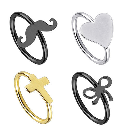 Heart Surgical Steel Nose Ring - Gold