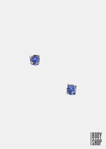 .925 Sterling Silver Nose Stud - Dark Blue