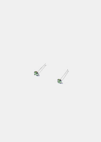 .925 Sterling Silver Nose Stud - Green