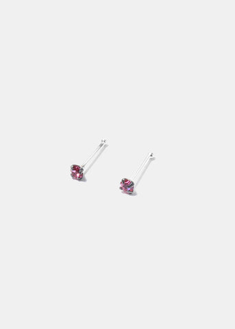 .925 Sterling Silver Nose Stud - Light Pink