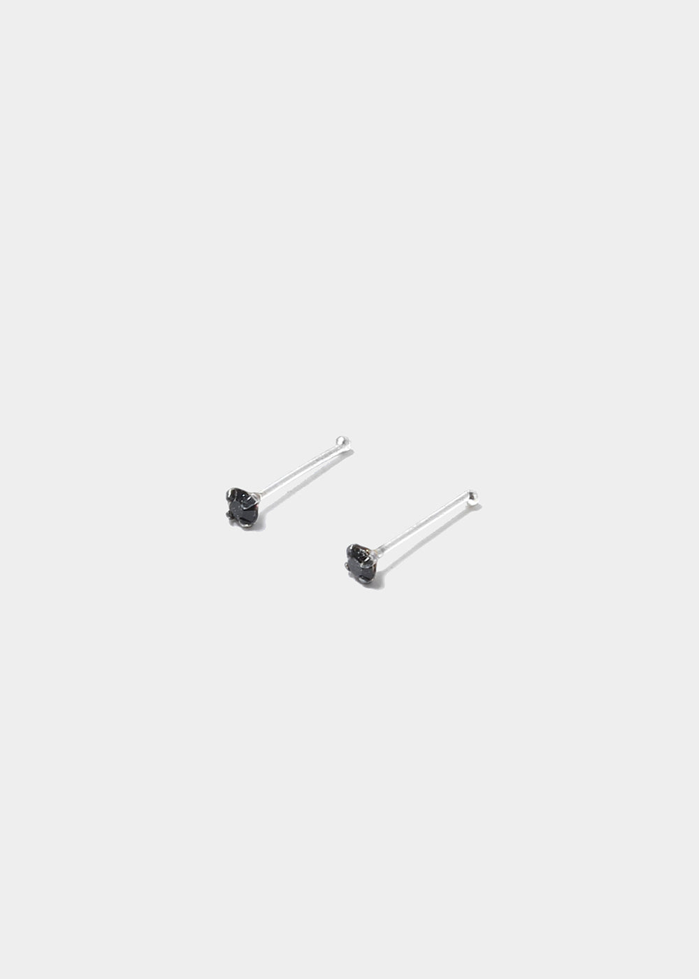 .925 Sterling Silver Nose Stud - Black