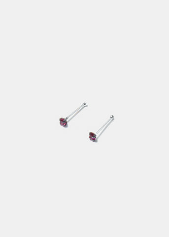 .925 Sterling Silver Nose Stud - Dark Pink