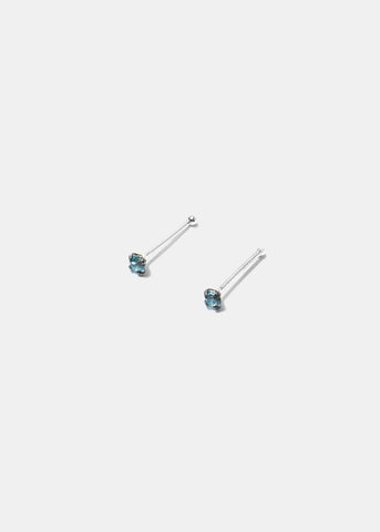 .925 Sterling Silver Nose Stud - Light Blue