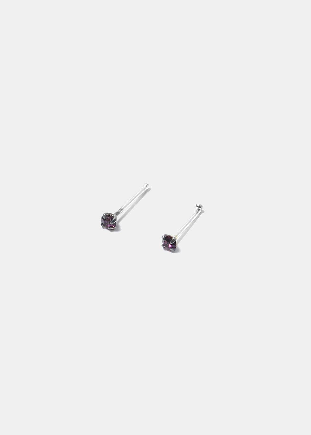 .925 Sterling Silver Nose Stud - Purple
