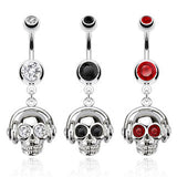 Headset Skull with CZ Eyes Dangle Navel Ring 316L Surgical Steel - Clear