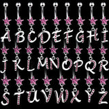 Pink CZ Initial Dangle 316L Surgical Steel Star CZ Navel Ring - Initial M