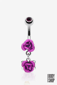 Double Metal Rose Dangle Navel Ring - Purple