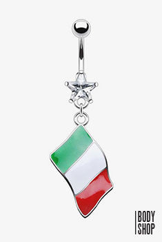 Flag of Italy Epoxy Dangle with 316L Surgical Steel