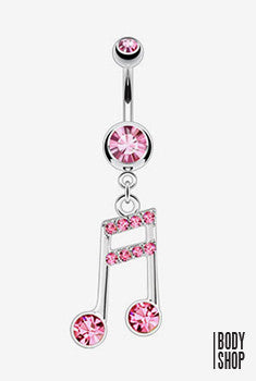 Multi Paved Music Notes with CZs Navel Ring -14GA Pink