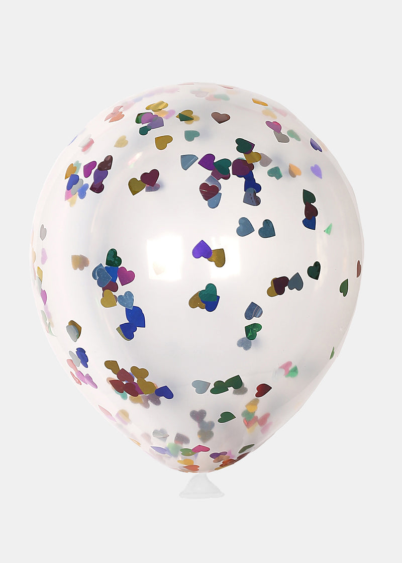 OKI Party Balloon- 5pc Color Heart Confetti Filled