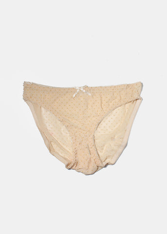 Sheer Dotted Brief Panty- Beige