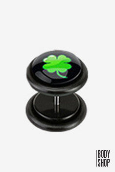 Faux Acrylic Plugs with Logo Plug - Clover In Black