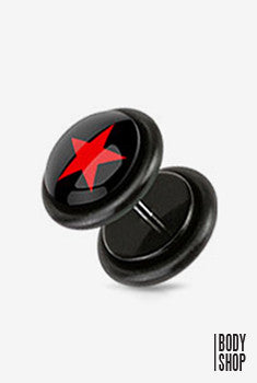 Faux Acrylic Plugs with Logo Plug - Red Star