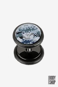 Pixelated Camouflage Print Acrylic Fake Plug - Blue