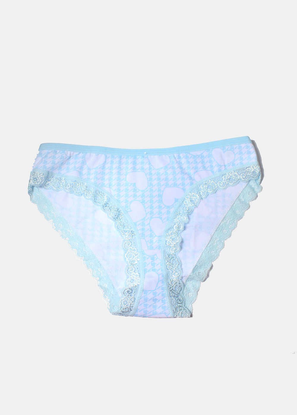 Gingham Heart Print Panty- Light Blue