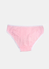 Ruffle Lace Heart Print Panty- Light Pink