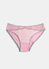 Dots & Stripes Brief Panty- Light Pink