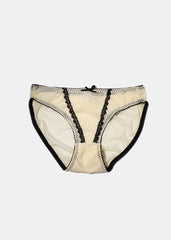 Sheer Ruffle Brief Panty- Cream