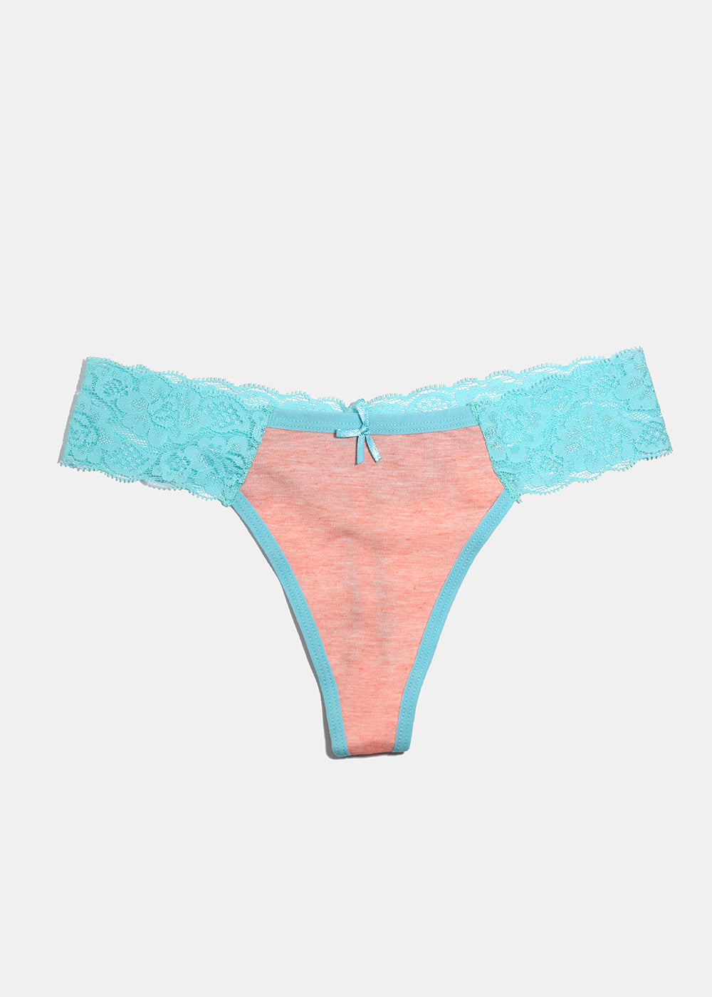 Heathered Lacy Thong Panty- Teal