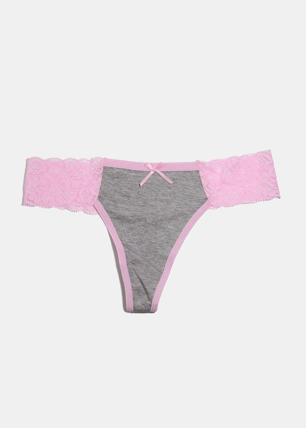 Heathered Lacy Thong Panty- Light Pink