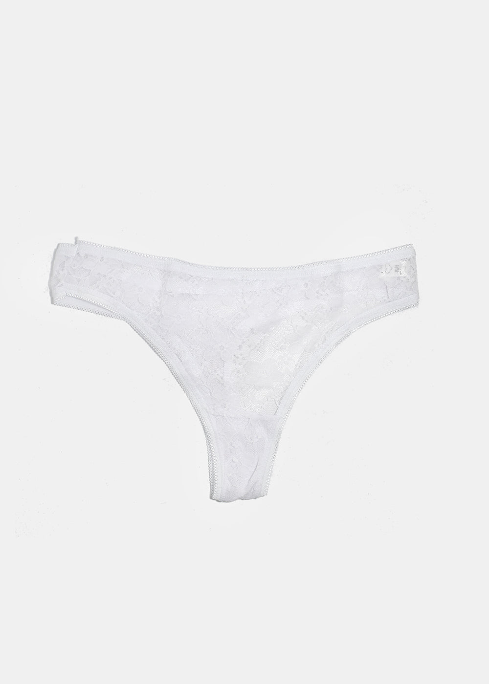 Floral Lace Thong Panty- White