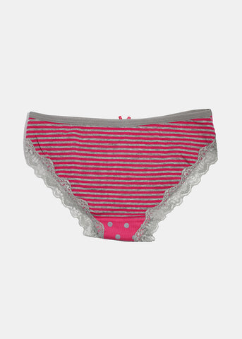 Polka Dot & Stripe Brief Panty- Pink