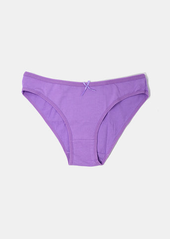 Classic Solid Color Brief Panty- Purple