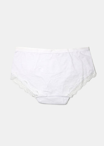 Lace Trim Hiphugger Panty- White