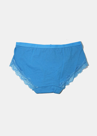 Lace Trim Hiphugger Panty- Blue