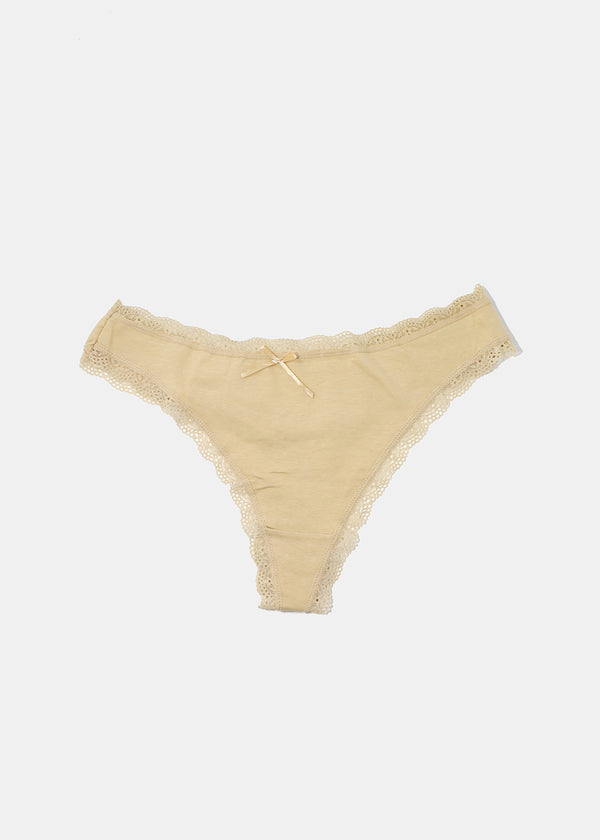 Solid Lace Trim Thong Panty - Beige
