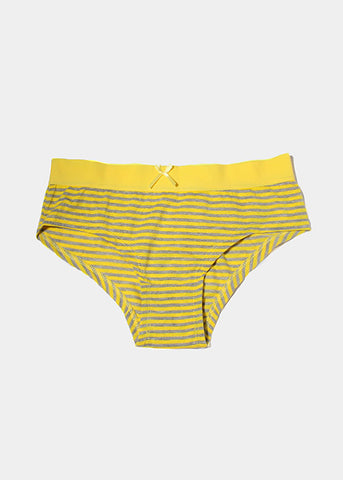 Striped Cotton Brief Panty- Yellow