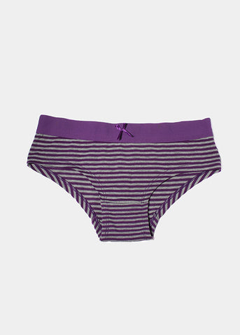 Striped Cotton Brief Panty- Purple