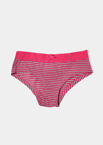 Striped Cotton Brief Panty- Pink