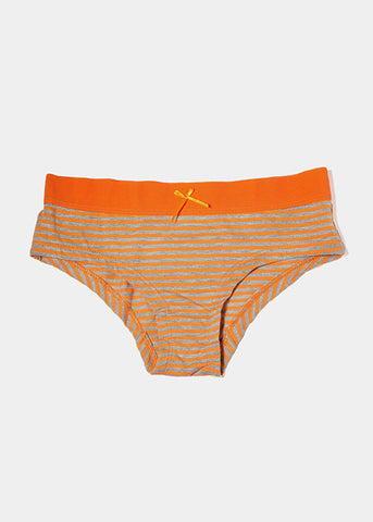 Striped Cotton Brief Panty- Orange