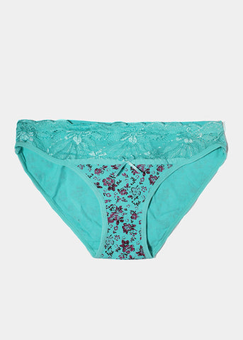 Floral Print Brief Panty- Teal