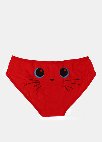 Cute Kitten Face Brief Panty- Red