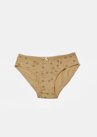 Star Print Brief Panty- Beige