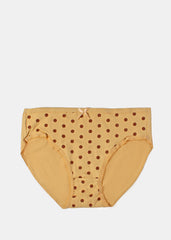 Polka Dot Brief Panty- Beige