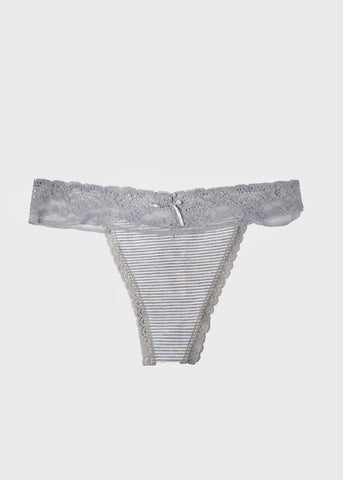 Lace & Cotton Striped Thong Panty- Grey