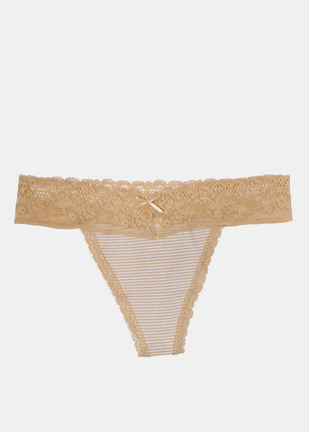 Lace & Cotton Striped Thong Panty- Beige