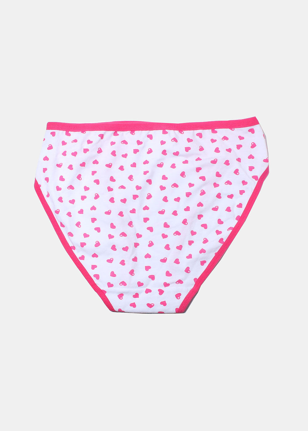 Lace & Heart Print Brief Panty- White