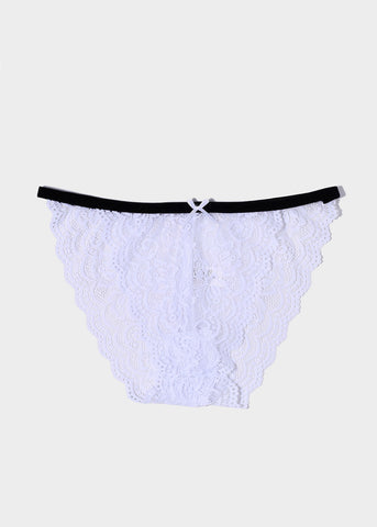 Two-Tone Floral Lace Bikini Panty- White