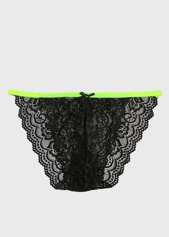 Two-Tone Floral Lace Bikini Panty- Black