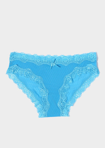 Silky Lace Trim Brief Panty- Blue