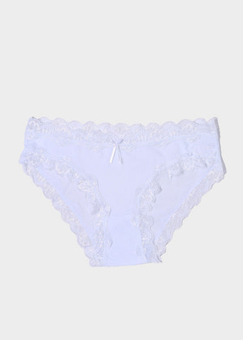 Silky Lace Trim Brief Panty- White