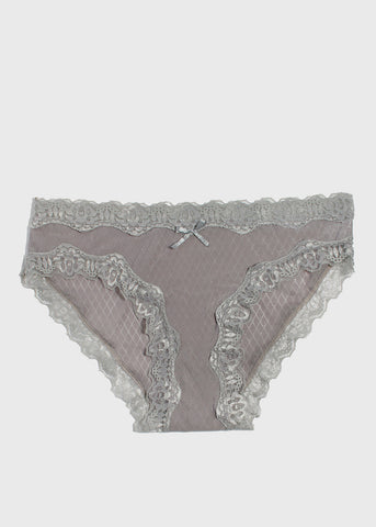 Silky Lace Trim Brief Panty- Grey