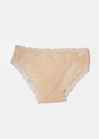 Silky Lace Trim Brief Panty- Beige