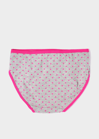 Heart Print Colored Trim Brief Panty- Pink